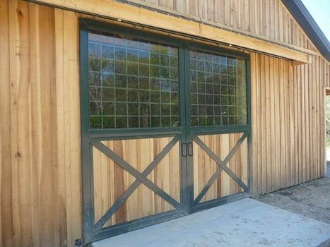 Barn End No. 2B - Glass top crossbuck bottom vertical wood load