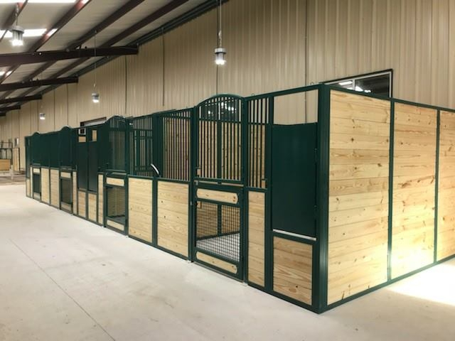 Stall Front No. 3N - Custom double hinged arched door stall front with arched top door and wire mesh bottom door and swing out feeder
