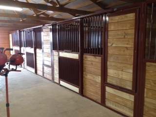 Stall Front No. 3X - Sliding stall door with full grill bottom and hay/grain swing feeder door