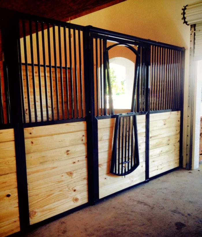 Stall Front No. 2O - Traditional sliding door front with horizontal wood load and optional arched yoke drop door