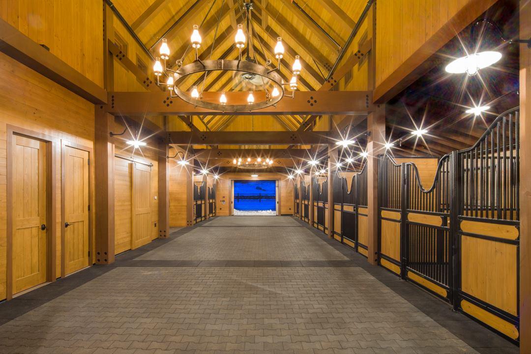 Classy chandelier in a horse barn