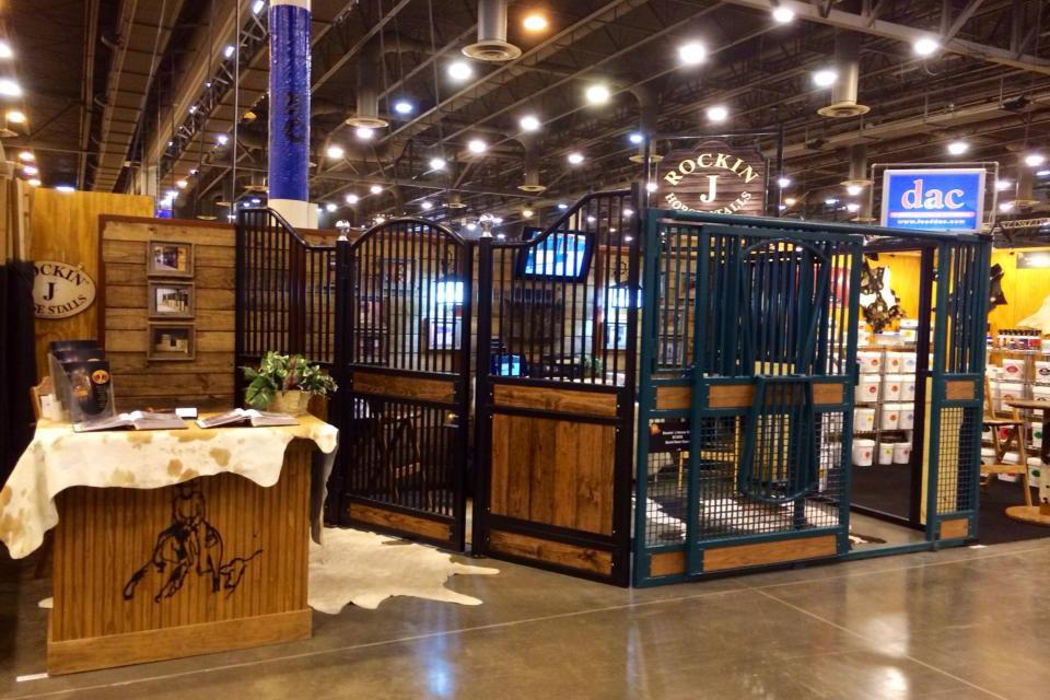 The Rockin J Equine booth setup at a tradeshow