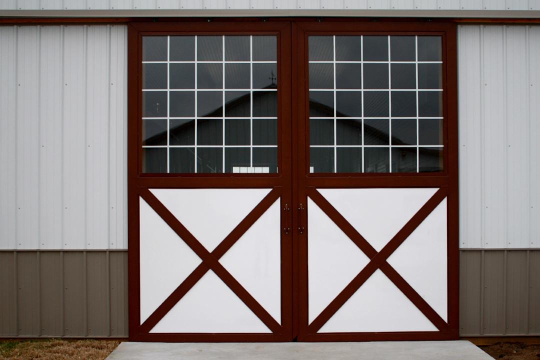 White dutch barn doors with glass tops