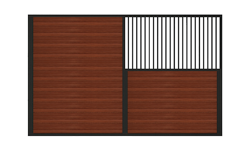 A sample of a half solid horizontal wood stall divider