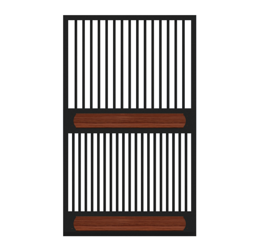 A traditional full grill horse stall door